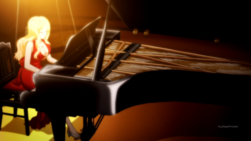 The ending theme is as beautiful as Irina, both in looks and piano-playing