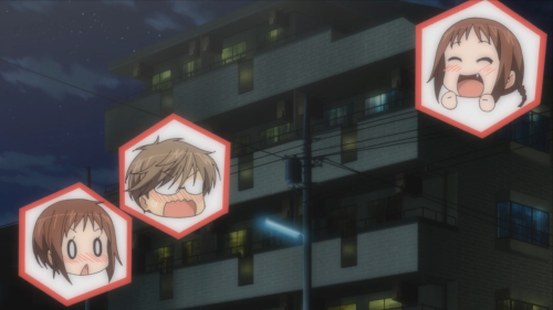 The anime often relies on head-only-cut-out transitions to avoid animation