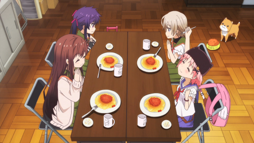 Gakkou Gurashi! / Episode 1 / The main cast having some spaghetti in the morning