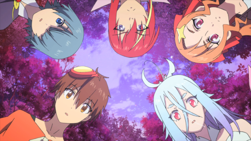 Comet Lucifer / Episode 8 / Sogo, Felia, Kaon, Roman, and Otto looking at a pot of curry