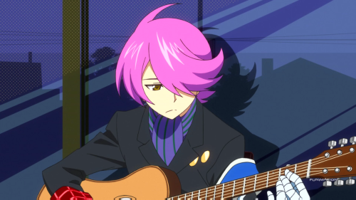 "Concrete Revolutio: Choujin Gensou / Episode 3 / Jirou plays ""Kinji Rare Ta Asobi"" on his acoustic guitar"