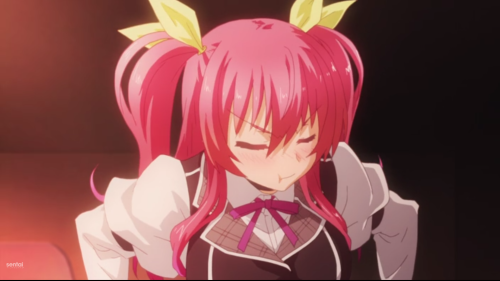 "Rakudai Kishi no Cavalry / Episode 1 / Stella pouting since she is now Ikki's ""servant"""