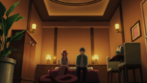Monster Musume! / Episode 1 / Miia and Darling hiding in a love hotel