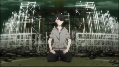Owarimonogatari / Episode 8 / Araragi shortly after Ononoki stamps his face with her foot