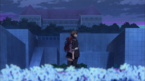 Shinmai Maou no Testament Burst / Episode 7 / Mio hugging Basara from behind outside at night