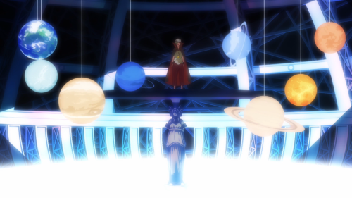 Owarimonogatari / Episode 9 / Izuko Gaen explaining the current situation involving Araragi, Shinobu, Kanbaru, and the first minion