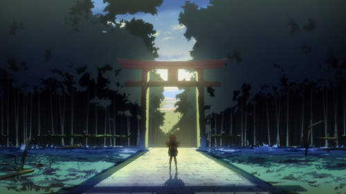 Owarimonogatari / Episode 10 / Shinobu stands in the center of the shrine's structure