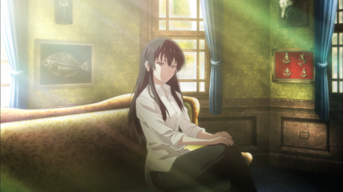 Sakurako-san no Ashimoto ni wa Shitai ga Umatteiru / Episode 9 / Sakurako sits in sunlight after speaking with Shoutarou and his grandmother