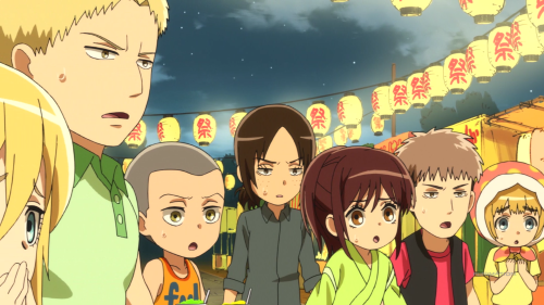 Shingeki! Kyojin Chuugakkou / Episode 9 / Krista, Reiner, Connie, Ymir, Sasha, Jean, and Armin look on as Bertolt protects Annie from flying shaved ice
