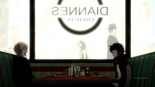 Kekkai Sensen / Episode 7 / Black and Leonardo talking over lunch