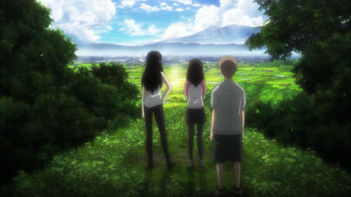 Sakurako-san no Ashimoto ni wa Shitai ga Umatteiru / Episode 3 / Sakurako, Shoutarou, and Yuriko admire the spot that Yuriko's grandmother and grandfather did in the past