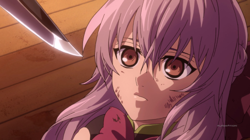 Owari no Seraph: Nagoya Kessen-hen / Episode 11 / Shinoa confronted and nearly killed for her decision to let Mika escape with Yu and, in the process, get fellow comrades killed