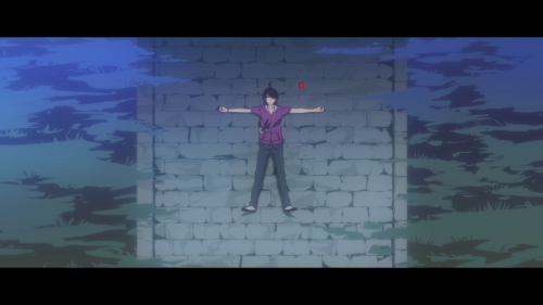 Owarimonogatari / Episode 12 / Araragi laying on the ground as he talks with Senjougahara over the phone