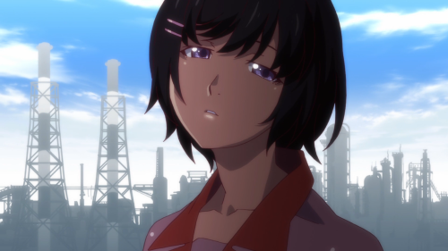 Owarimonogatari / Episode 4 / Hanekawa glaring at Ougi with a face that screams she has already had enough of the spooky girl