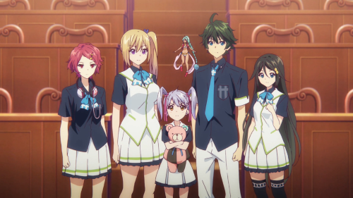 Musaigen no Phantom World / Episode 13 / Koito, Mai, Kurumi, Ruru, Haruhiko, and Reina in the last shot of the season