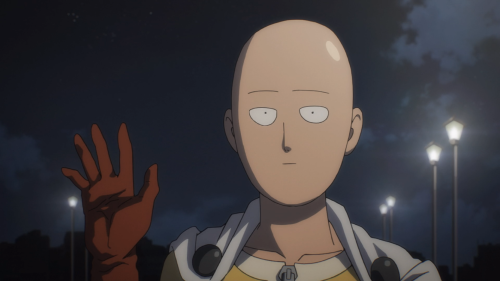 One Punch Man / Episode 5 / Saitama waving goodbye to Genos