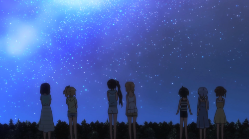 Is the Order a Rabbit?? / Episode 11 / Chiya, Syaro, Rize, Cocoa, Maya, Chino, and Megumi looking up at the stars during their getaway camping trip