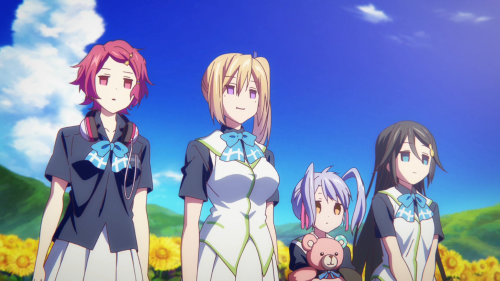 Musaigen no Phantom World / Episode 12 / Koito, Mai, Kurumi, and Reina staring blankly at the Sunflower Phantom for how easy it was to defeat him