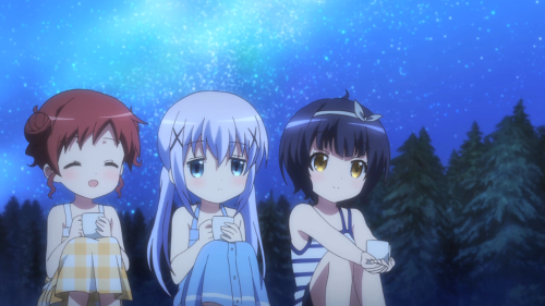 Is the Order a Rabbit?? / Episode 11 / Megumi, Chino, and Maya watch the other girls from afar