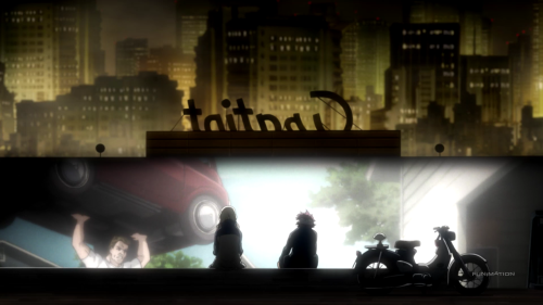 Kekkai Sensen / Episode 5 / Leonardo and White, having snuck out of the hospital, watch a movie together