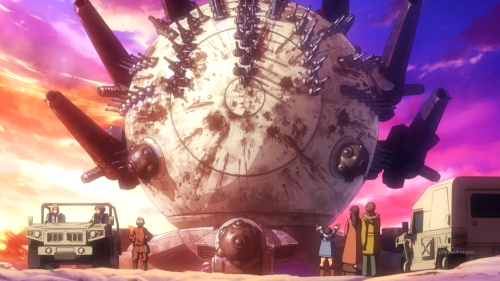 Heavy Object / Episode 22 / Qwenthur, Havia, and Ayami (the old lady and their mentor) next to Ayami's family and in front of the Baby Magnum
