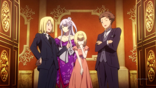 Heavy Object / Episode 3 / Qwenthur and Havia about to receive their recognition for destroying the Object and saving Milinda with her and Frolaytia there to support the guys