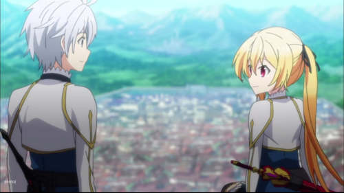 Saijaku Muhai no Bahamut / Episode 2 / Lux showing Lisha a relaxing and private spot high above the city