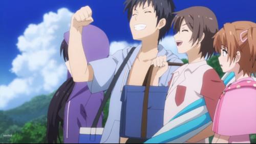 Shoujo-tachi wa Kouya wo Mezasu / Episode 6 / Bunta and the gang hanging out at the beach