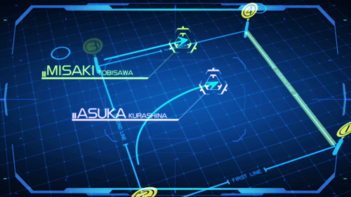 Ao no Kanata no Rhythm / Episode 2 / Coach explaining to Asuka what a shortcut in Flying Circus means