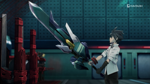 God Eater / Episode 2 / Lenka holding his God Arc for the very first time