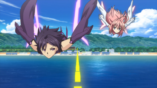 Ao no Kanata no Rhythm / Episode 6 / Asuka squaring off against Shindou in a tournament Flying Circus match