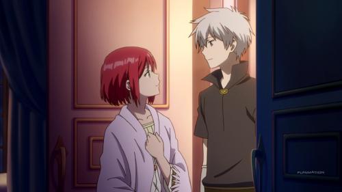 Akagami no Shirayuki-hime 2nd Season / Episode 2 / Zen saying goodnight to Shirayuki the night before she leaves for Tanbarun