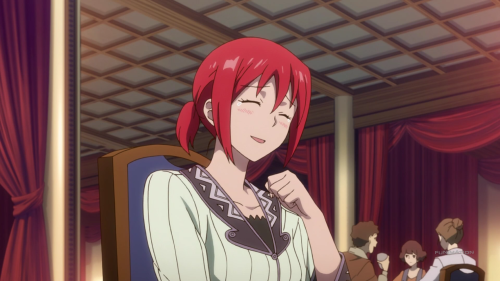 Akagami no Shirayuki-hime 2nd Season / Episode 9 / Shirayuki laughing at the antics of Zen, Mitsuhide, and Obi
