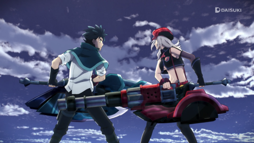 God Eater / Episode 3 / Lenka and Alisa fighting together atop a flying plane