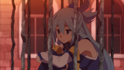 KonoSuba / Episode 5 / Aqua utterly devoid of thought after her harrowing alligator experience