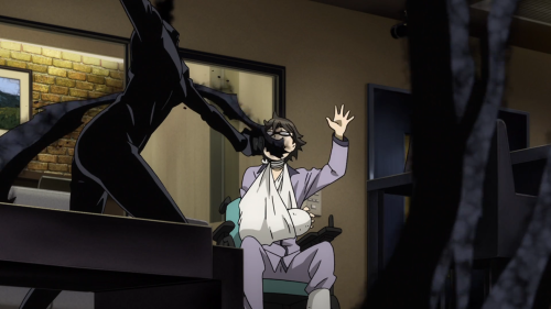 Durarara!!x2 Ketsu / Episode 1 / Celty filling Shinra's mouth with shadows