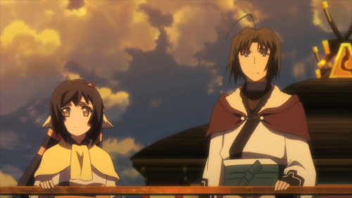 Utawarerumono: Itsuwari no Kamen / Episode 19 / Kuon and Haku riding a bot to Tousukuru