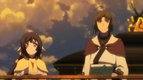 Utawarerumono: Itsuwari no Kamen / Episode 19 / Kuon and Haku riding a bot to Tousukuru