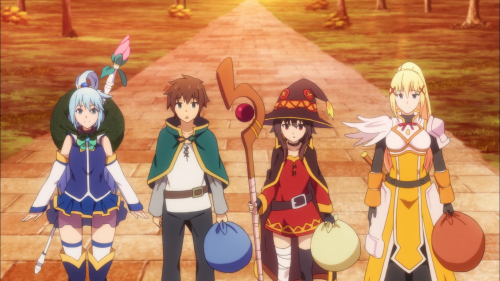 KonoSuba / Episode 8 / Aqua, Kazuma, Megumin, and Darkness arriving at the mansion in need of exorcising