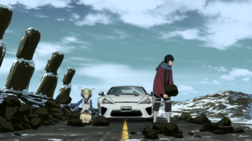 Dimension W / Episode 8 / Mira and Kyouma getting rocks out of the middle of the road with different levels of ease