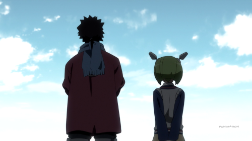 Dimension W / Episode 12 / Kyouma and Mira looking off into the distance