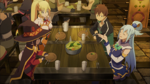 Konosuba / Episode 3 / Kazuma, Aqua, Megumin, and Darkness sitting down for dinner following the mass-cabbage attack