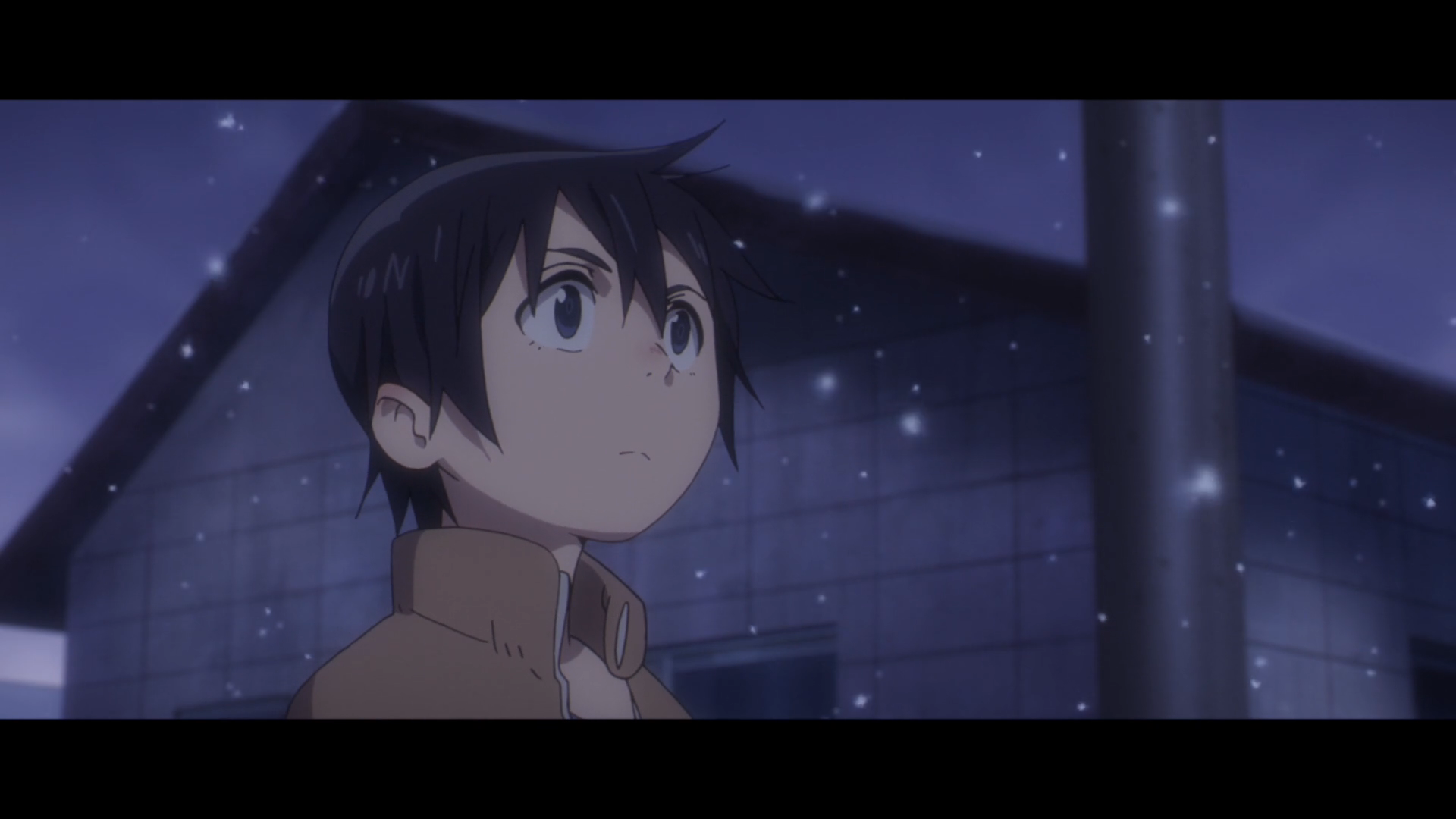 Erased episode 9 satoru looking up at the wintry sky