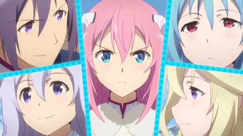 Gakusen Toshi Asterisk 2nd Season / Episode 12 / The whole gang in a paneled shot
