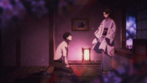 Shouwa Genroku Rakugo Shinjuu / Episode 9 / Bon kneeling before Miyokichi as she curses him