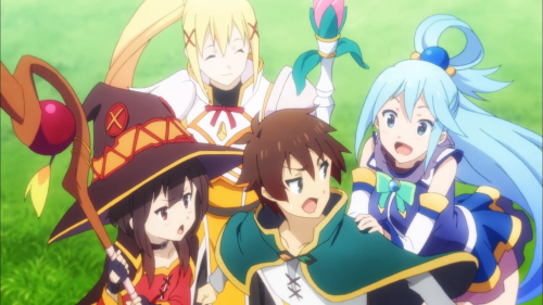 KonoSuba / Episode 7 / Kazuma, Aqua, Megumin, and Darkness together as friends
