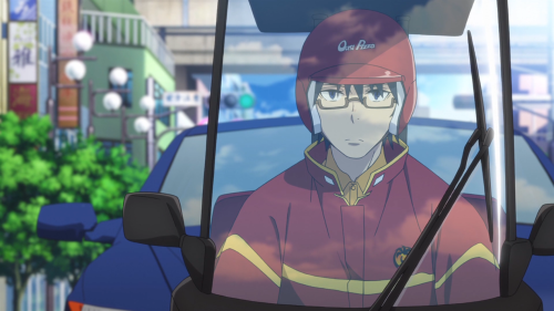 Erased / Episode 1 / Satoru, as a pizza delivery man, driving in a mini-motorcycle