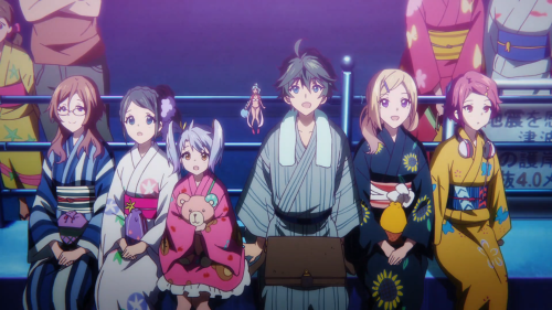 Musaigen no Phantom World / Episode 10 / Kikuko, Reina, Kurumi, Ruru, Haruhiko, Mai, and Koito enjoying fireworks together