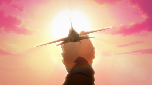 Hai to Gensou no Grimgar / Episode 2 / Mogzo holding up a wooden plane that he crafted himself