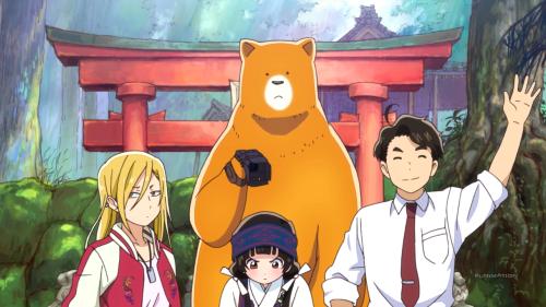 Kuma Miko / Episode 9 / Hibiki, Machi, Natsu, and Yoshio before shooting the commercial